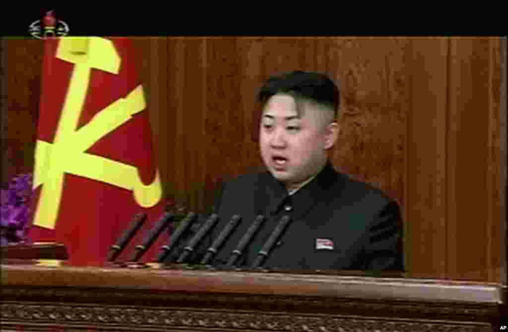 N Korean leader Kim Jong Un makes his first New Year's speech calling for his country to focus on economic improvements with the same urgency that scientists put into the launch of a long-range rocket last month, January 1, 2013.