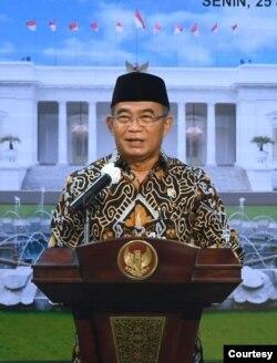 Menko PMK Muhadjir Effendy dalam telekonferensi pers di Istana Kepresidenan Jakarta, Senin (25/1). (biro Setpres)