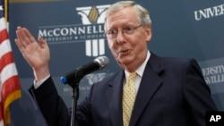 Senator Republik Mitch McConnell dipastikan memimpin mayoritas Senat AS yang kini dikuasai Partai Republik (5/11).