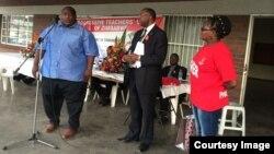 FILE: Progressive Teachers Union of Zimbabwe secretary general Raymond Majongwe addressing members of his union. (Photo: PTUZ)