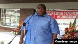 "Progressive Teachers Union of Zimbabwe secretary general Raymond Majongwe addressing members of his union. (Photo"" PTUZ)"