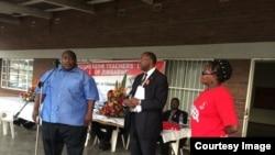 Progressive Teachers Union of Zimbabwe secretary general Raymond Majongwe addressing members of his union. (Photo PTUZ)