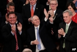 Rep. Steve Scalise, R-La., acknowledges President Donald Trump's introduction during the State of the Union address to a joint session of Congress on Capitol Hill in Washington, Jan. 30, 2018.