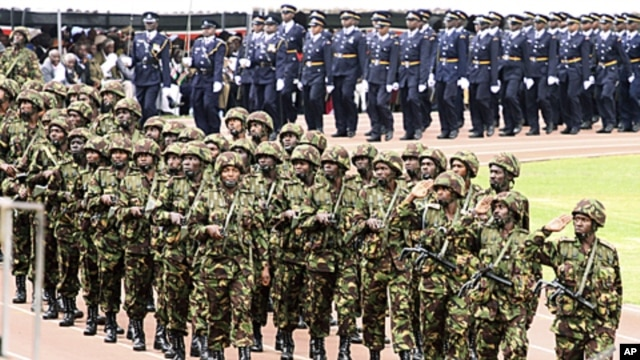 Kenyan Army soldiers in  a military parade at Nyayo National  Stadium during celebrations of  Heroes Day, in Nairobi, Kenya, October 20, 2011 (file photo).