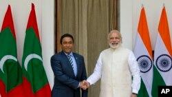 印度总理莫迪会见马尔代夫前总统亚明(2016年4月)