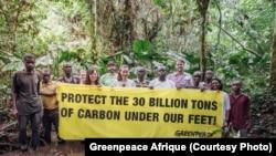 Greenpeace Afrique et les habitants du Parc de la Salonga demandent la protection de 30 millions de tonnes de carbone, le 8 août 2019. (Twitter/Greenpeace Afrique)