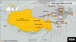 自2013年1月18日以来西藏发生的自焚事件。(资料图片)