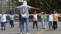 Children exercise at Wonderland Avenue Elementary School in the Hollywood Hills area of Los Angeles in 2010