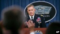 J3 Operasyonları Direktörü Korgeneral William Mayville, Pentagon'da gazetecileri Horasan grubunun faaliyetleri hakkında bilgilendirirken