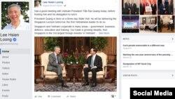 Trong một thông điệp ngắn trên Facebook, ông Lý viết rằng ông 'đã có cuộc gặp tốt đẹp với Chủ tịch Việt Nam Trần Đại Quang trước khi chủ trì buổi tiệc trưa dành cho ông [Quang] và đoàn tùy tùng'.