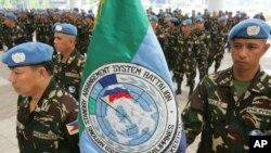 Des soldats philippins de la mission des Nations unies au Libéria