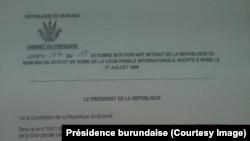 Décret du président Pierre Nkurunziza portant retrait de son pays de la CPI. 18 octobre 2016
