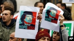Demonstrators hold up posters depicting Libya's Moammar Gadhafi during a protest in Brussels, February 25, 2011