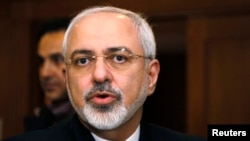 FILE - Iranian Foreign Minister Mohammad Javad Zarif talks with reporters in Geneva, Switzerland.