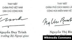 Chữ kí ông Nguyễn Duy Trinh và bà Nguyễn Thị Bình.