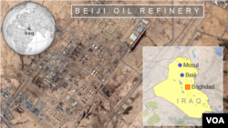 Satellite map of Beiji oil refinery, Iraq