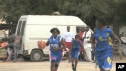 Girls in Dakar, Senegal play basketball in Anne Marie Dioh's after-school program
