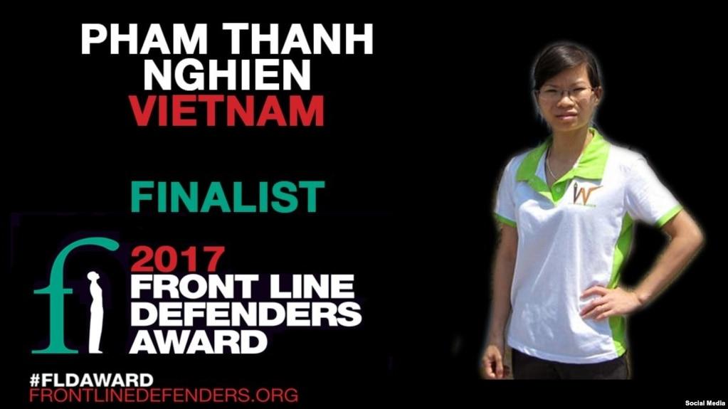 Blogger Phạm Thanh Nghiên (Ảnh: Twitter của Front Line Defenders)