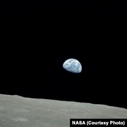 Earthrise, a photo taken by astronaut William Anders during the Apollo 8 moon mission, shows our planet in the vastness of space.