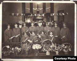 North Street High School graduates are seen in an undated photo at Ebenezer AME Church, Hagerstown, Maryland. (Courtesy of Wendi Perry, Curator of Doleman Black Heritage Museum)