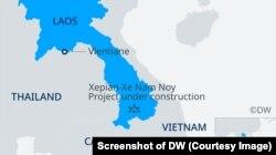 Bản đồ vị trí đập thủy điện của dự án Xe-Pian Xe-Namnoy vừa bị vỡ ở Lào.