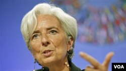 Kepala IMF, Christine Lagarde berbicara pada pertemuan IMF/Bank Dunia di Washington, D.C (22/9).