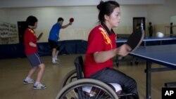 지난 8월 평양의 대동강장애자문화센터에서 훈련 중인 선수들. (자료 사진)