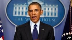Tổng thống Hoa Kỳ Barack Obama phát biểu về vụ đánh bom cuộc đua marathon Boston, ngày 19/4/2013.