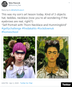 Twitter user Nina Peacock gave her son the home school art assignment of recreating a painting by Frida Kahlo.