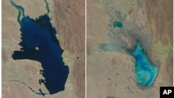 This photo combo of satellite images provided by the USGS shows Lake Poopo filled with water on Oct, 11, 1986, left, and almost dry in Bolivia, Jan. 16, 2016.