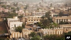 General view over the offices of the state radio and television broadcaster after Malian soldiers announced a coup d'etat, in the capital Bamako, March 22, 2012.