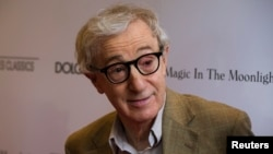 "FILE - Director Woody Allen arrives for the premiere of his film ""Magic in the Moonlight"" in New York, July 17, 2014."