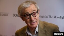 "Director Woody Allen arrives for the premiere of his film ""Magic in the Moonlight"" in New York, July 17, 2014."