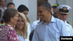 Madan Prezidan Santos - Shakira - Prezidan Obama - nan Somè Dèzamerik la - 15 avril 2012