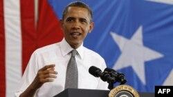 Tổng thống Obama nói chuyện với cử tọa tại buổi lễ tiếp đón ông ở Puerto Rico