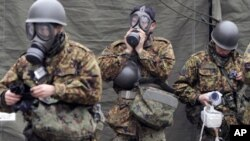 到受輻射影響的災區救援的日本自衛隊成員