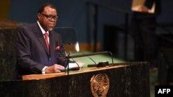 Hage Geingob, président de la République de Namibie, prend la parole au Sommet de la paix Nelson Mandela, à New York, le 24 septembre 2018.