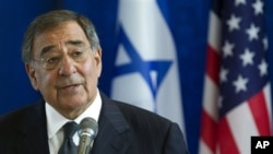 US Defense Secretary Leon Panetta speaks in Tel Aviv , Israel Oct. 3, 2011.