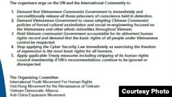 Lời kêu gọi biểu tình ngày 22/1/2019 tại Geneva của Phong trào Giới trẻ Thế giới vì Nhân quyền