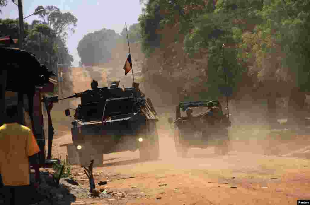 French soldiers patrol villages in Bossangoa, north of Bangui, Jan. 2, 2014.