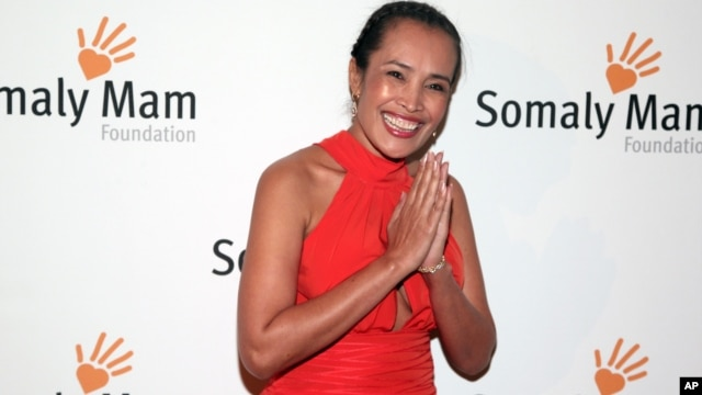FILE - Author and human rights advocate Somaly Mam attends the Somaly Mam Foundation Gala in New York, Oct. 23, 2013.