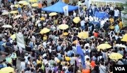 數百港人參與雨傘運動三周年集會。(美國之音湯惠芸)