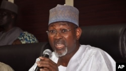Independent National Electoral Commission Chairman, Attahiru Jega, speaks during a news conference in Abuja, Nigeria, Feb. 7, 2015.