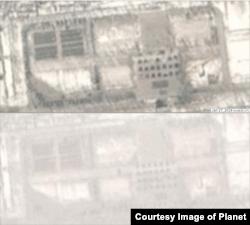 27일(위)과 28일 평양 미림비행장 북쪽을 찍은 '플래닛'의 위성사진. 광장 중심부 도로에 병력들이 점 형태로 도열한 모습을 볼 수 있다. (사진제공=Planet)