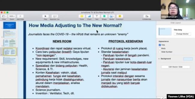 """Titin Rosmasari dari CNN Indonesia memaparkan bagaimana media beradaptasi menghadapi penyebaran virus corona dalam diskusi virtual """"Merumuskan Pola Baru Jurnalisme TV di Era New Normal (28/5) oleh Ikatan Jurnalis Televisi Indonesia (IJTI). (Foto: VOA)"""