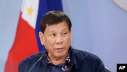 Presiden Rodrigo Duterte di Istana Malacanang, Manila, Filipina, 24 Agustus 2021. (Raja Rodriguez/ Istana Presiden Malacanang via AP)