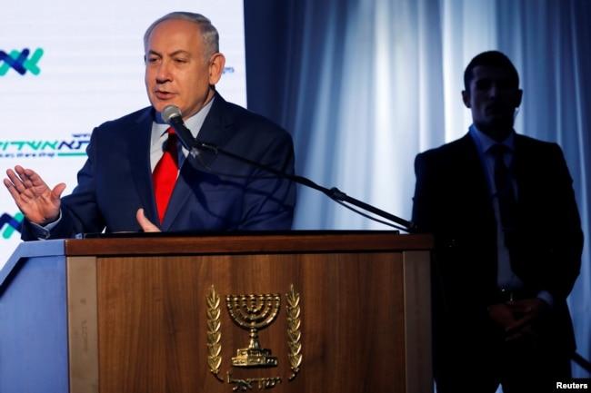 "Israeli Prime Minister Benjamin Netanyahu speaks during a dedication ceremony of the ""Assuta"" hospital in Ashdod, Israel, Dec. 21, 2017."