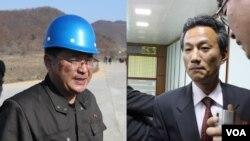 지난해 4월 북한 동창리 서해발사장에서 '은하3호' 발사 계획을 설명하는 장명진 총책임자(왼쪽)와 '광명성3호' 위성관제종합지휘소를 참관한 기자들의 질문에 답하는 백창호 소장. 두 사람 모두 미국 정부 제재 대상에 포함됐다.