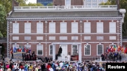 Independence Hall, a UNESCO World Heritage Site, was the backdrop for Pope Francis as he spoke in Philadelphia, Sept. 26, 2015.