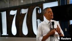 Presiden AS Barack Obama berbicara mengenai lapangan pekerjaan dalam kunjungan ke perusahaan teknologi baru 1776 di Washington (3/7). (Rueters/Kevin Lamarque)